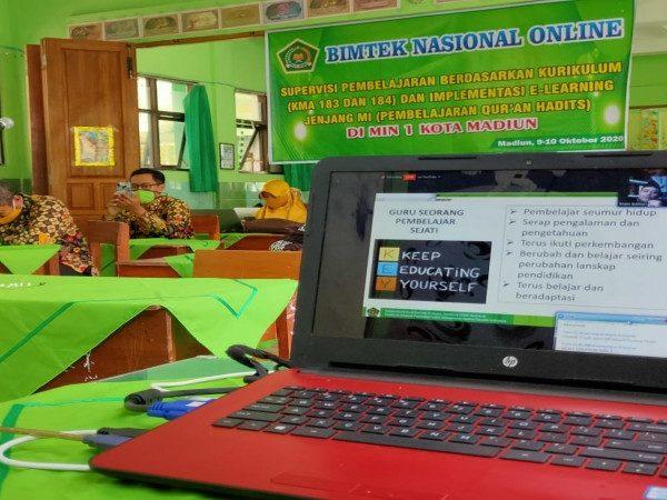 Bimtek Nasional Online pembelajaran Qur'an Hadist MI zona I berjalan lancar